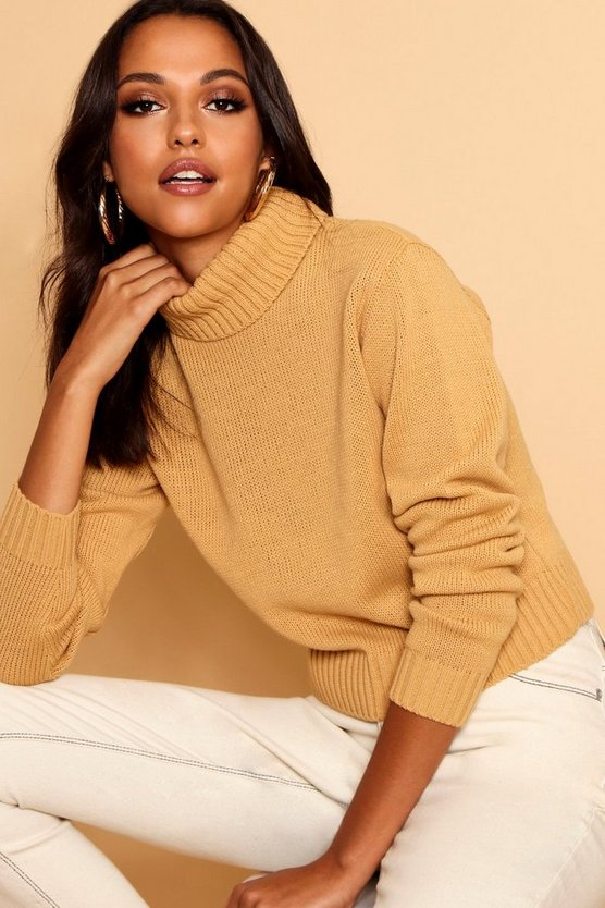 Womens Camel Roll Neck Crop Sweater