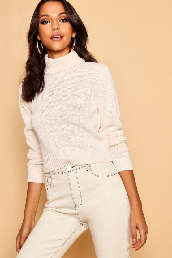 Cream Roll Neck Crop Jumper