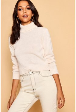 Womens Cream Roll Neck Crop Sweater
