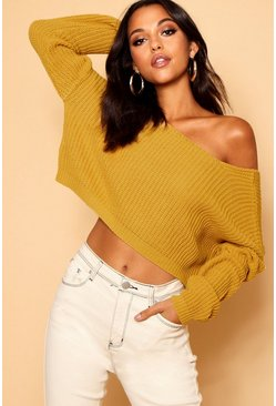 Mustard V-Back Crop Sweater