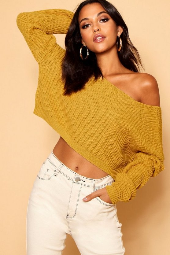 Womens Mustard V-Back Crop Jumper