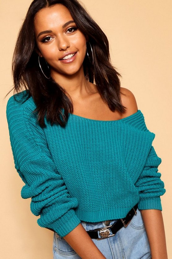 Womens Emerald V-Back Crop Jumper