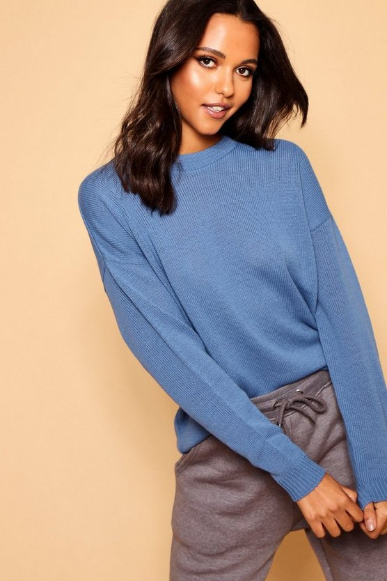 Womens Denim Boxy Crew Neck Sweater