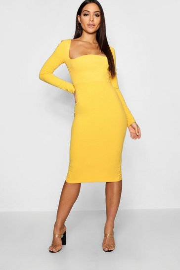 Womens Mustard Curved Neckline Fitted Midi Dress
