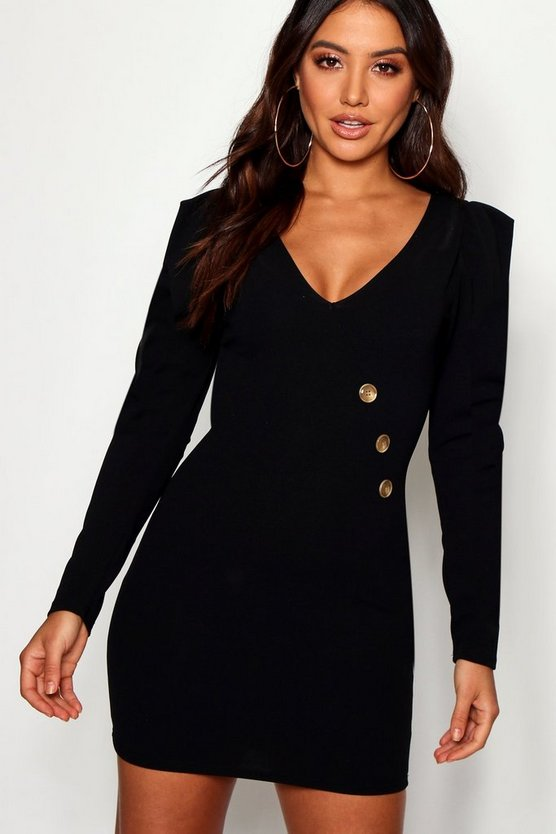 Puff Sleeve Button Detail Bodycon Dress