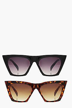 2 pack flat top angular sunglasses