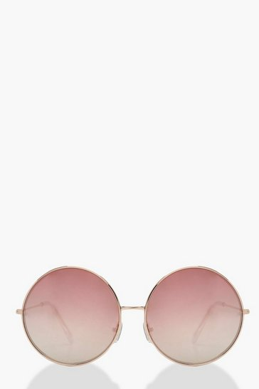 Womens Rose Gold Oversized Round Sunglasses