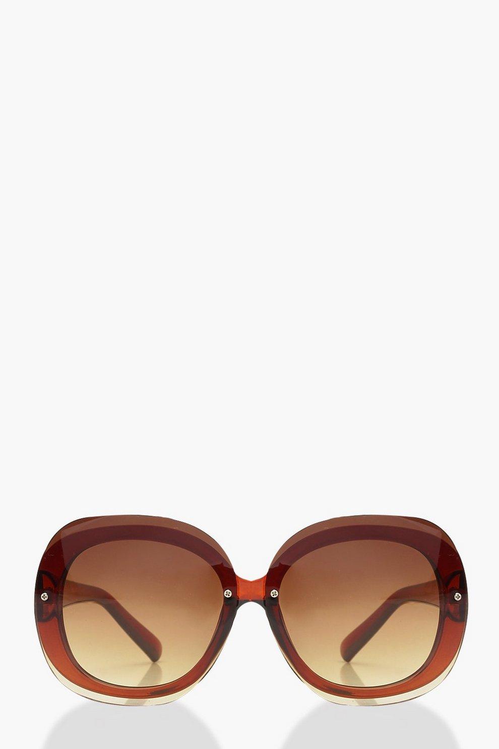 220ddcb3ede652 Übergroße, runde Sonnenbrille ohne Rahmen | Boohoo