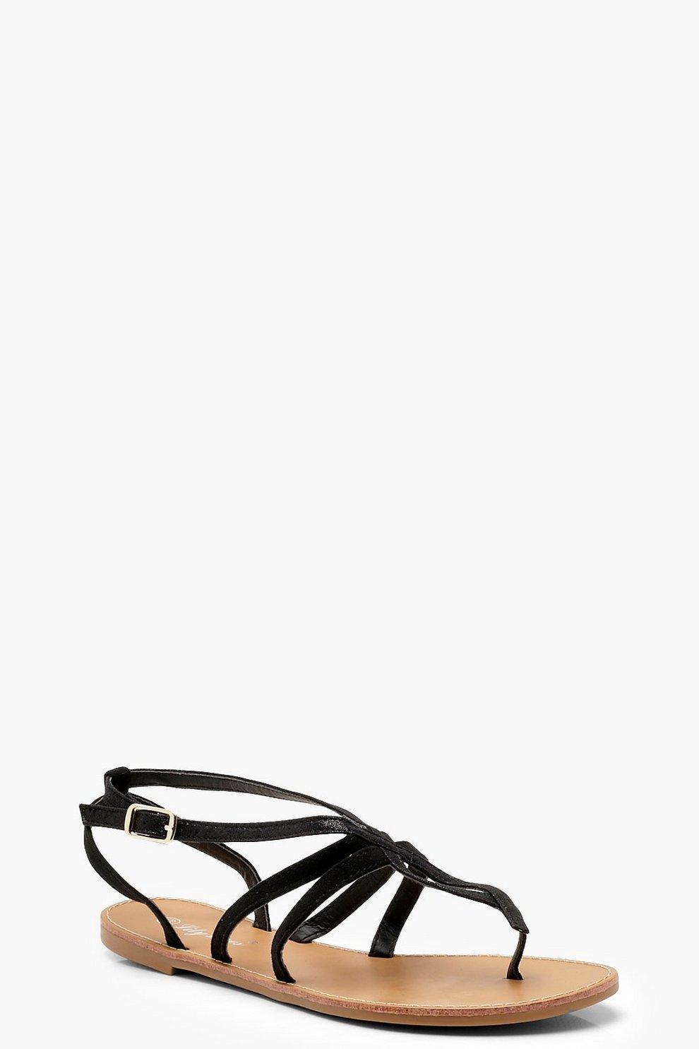 fa4ec96c1 Womens Black Toe Post Strappy Sandals