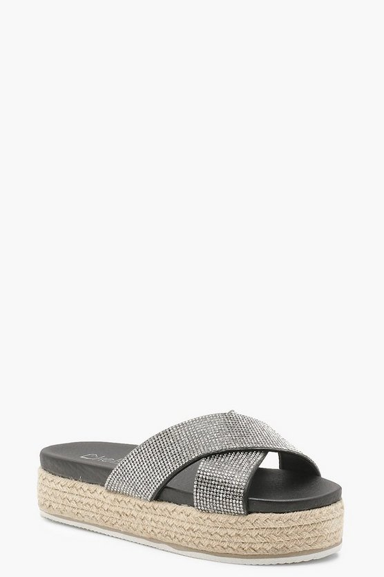 Cross Strap Diamante Espadrille Flatforms