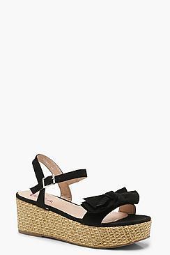 Bow Detail Espadrille Flatform Sandals