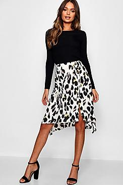Satin Leopard Print Button Split Midi Skirt