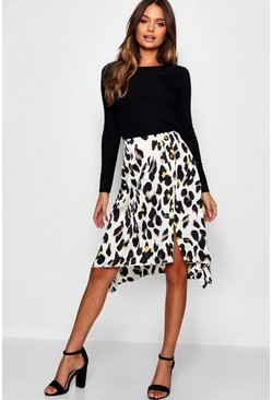 Womens Ivory Satin Leopard Print Button Split Midi Skirt