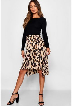 Womens Sand Satin Leopard Print Button Split Midi Skirt