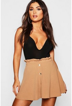 Womens Camel Paperbag Waist Mock Horn Button Skater Skirt