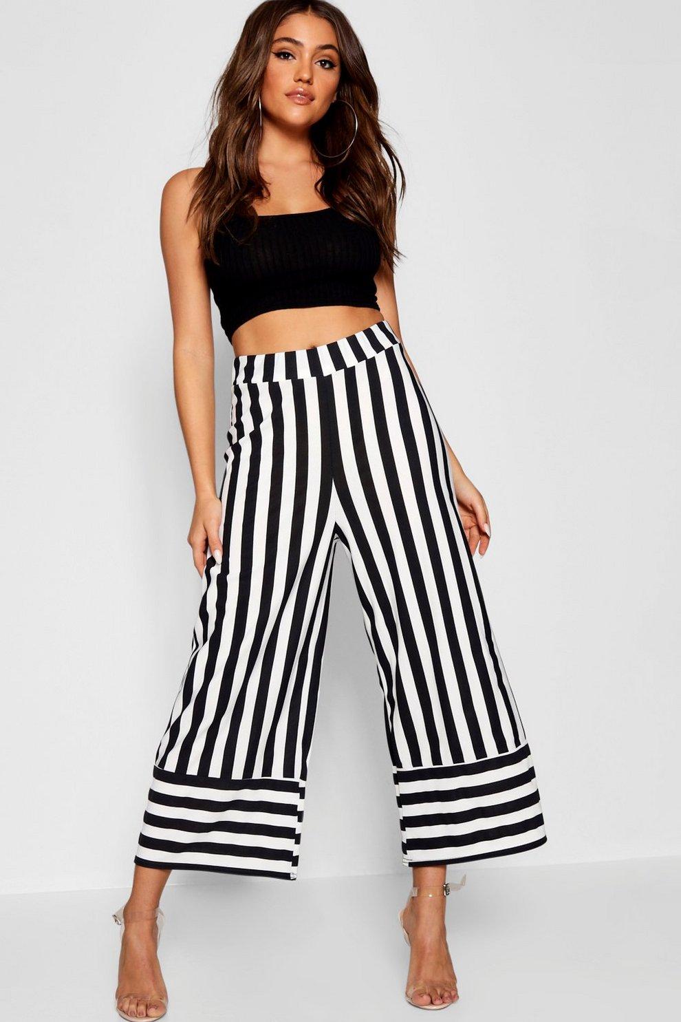 94df00e0d8a1f3 Pantaloni culottes in crepe a righe a contrasto | Boohoo