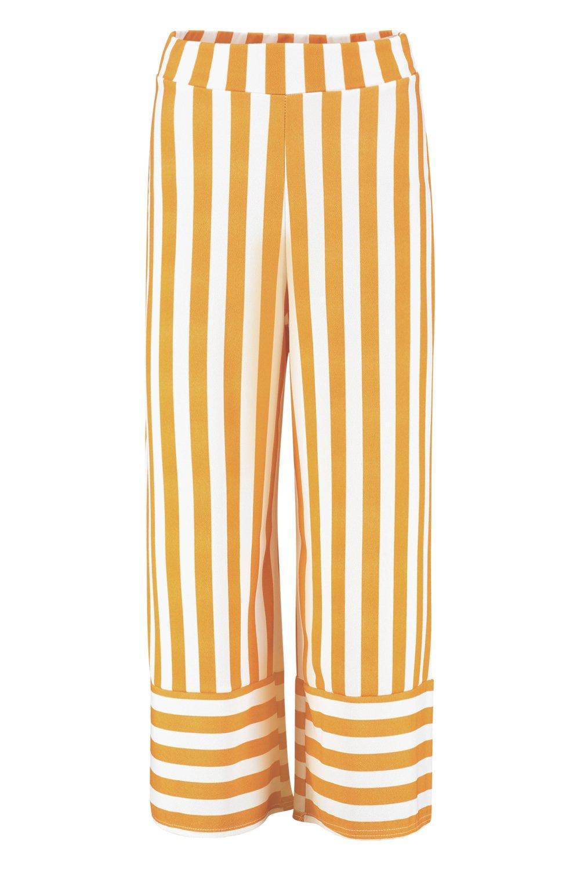 Pantalones crepé contraste culottes en mostaza rayas a en r1P1x7