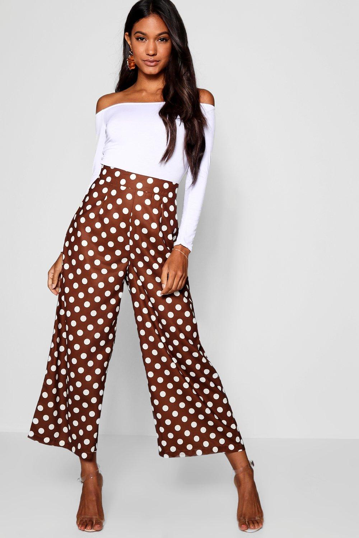 1930s Wide Leg Pants and Beach Pajamas Woven Large Polka Dot Wide Leg Culottes $24.00 AT vintagedancer.com