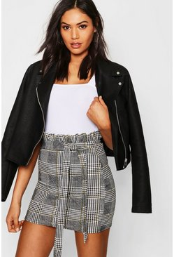Womens Black Paperbag Tie Waist Check Mini Skirt