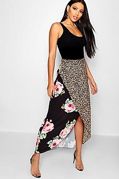 Mix Print Wrapped Maxi Skirt