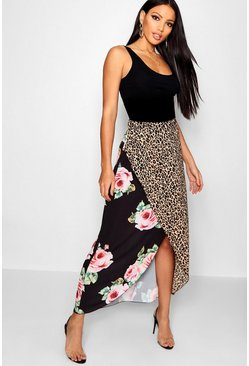 Womens Black Mix Print Wrapped Maxi Skirt