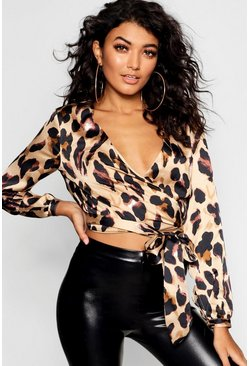 Womens Tan Leopard Wrap Front Satin Woven Crop