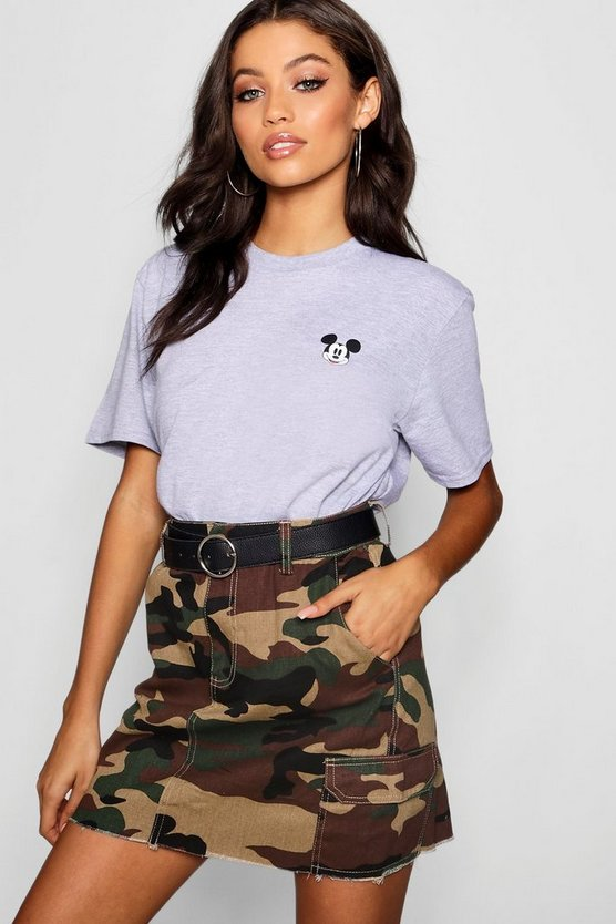 Womens Grey marl Disney Mickey Pocket Print T-Shirt