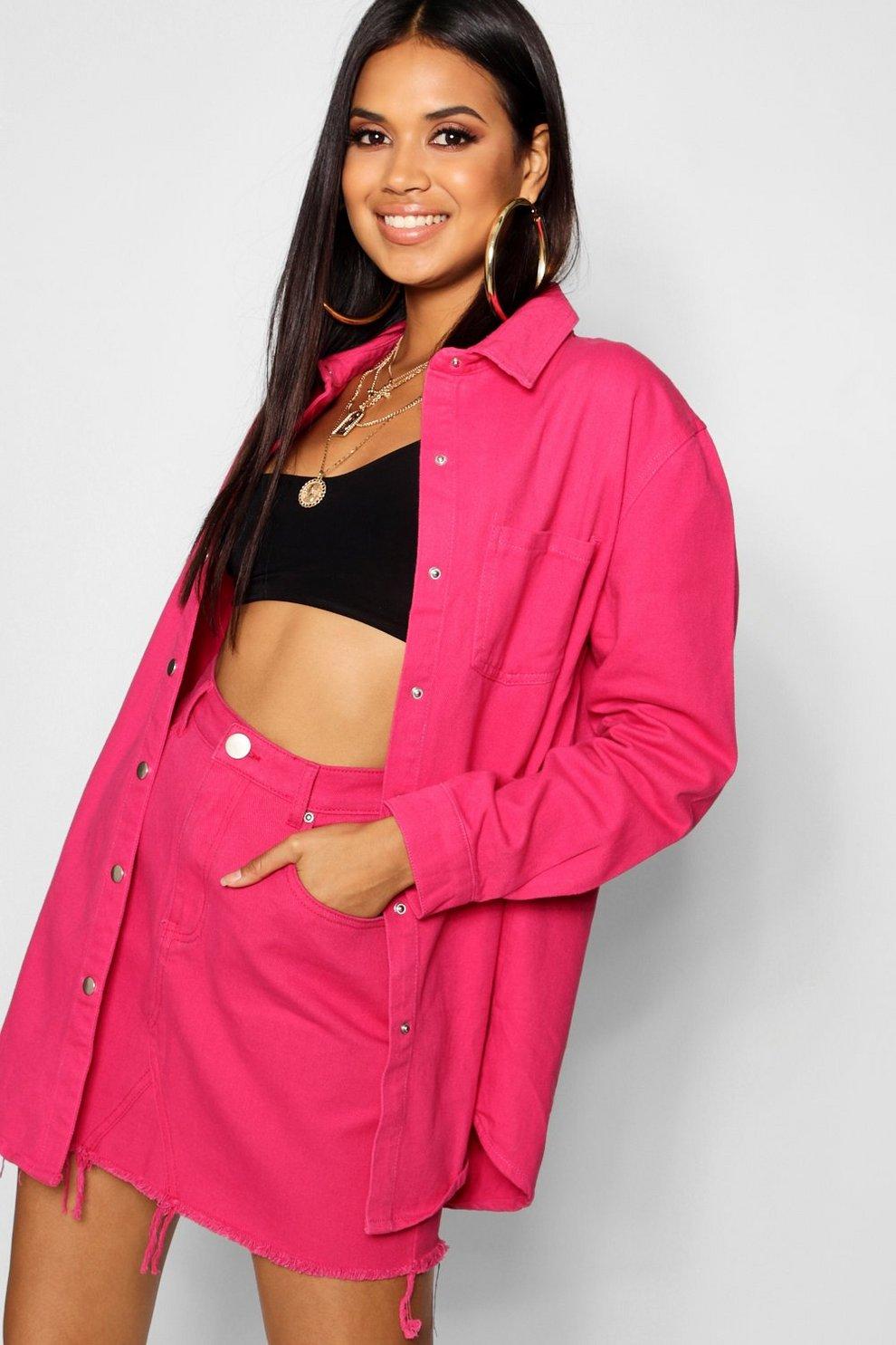 19eed30e53 Hot Pink Denim Skirt | Boohoo