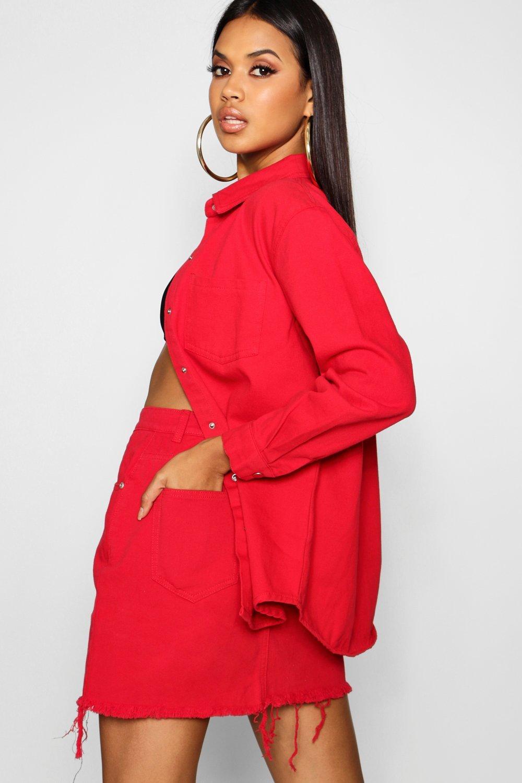 rojo rojo Minifalda intenso en denim Z8xaqfn