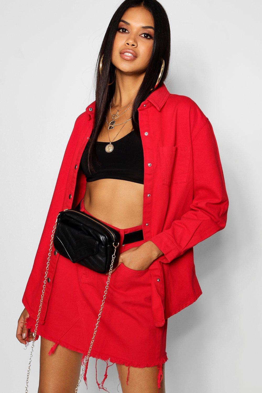 denim rojo rojo en Minifalda intenso HqPfWw