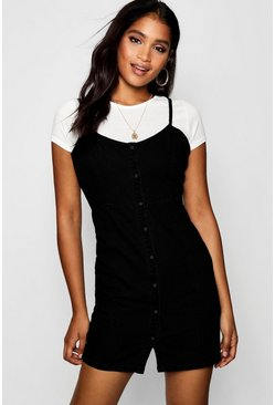 Womens Black Strappy Popper Front Denim Dress