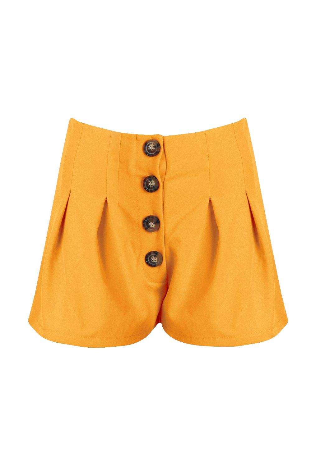 5d79f3ddf1 Horn Button Pleated High Waist Shorts. Hover to zoom. Close video