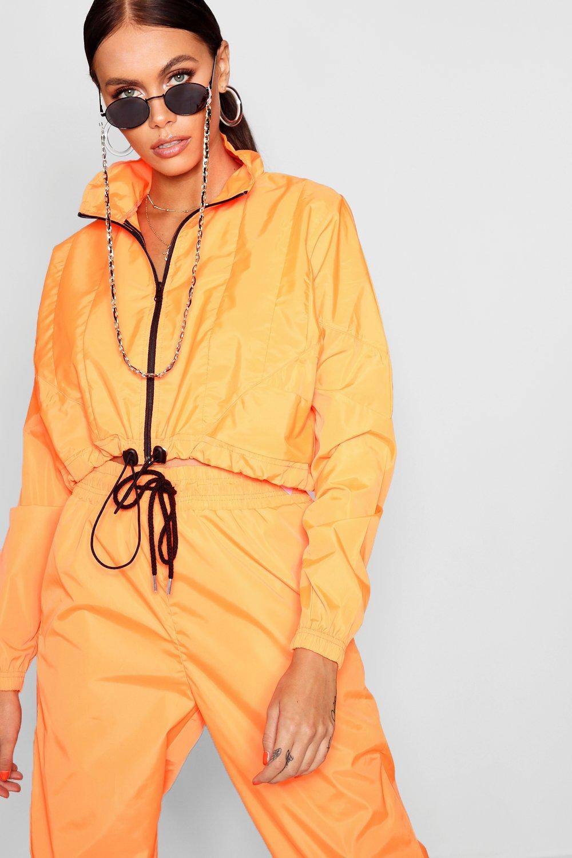 estilo con naranja camionero cremallera corta Chaqueta fosforito RfUqxq