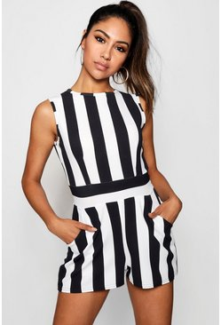 Black High Neck Stripe Playsuit