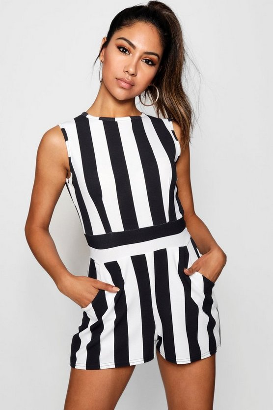 High Neck Stripe Playsuit
