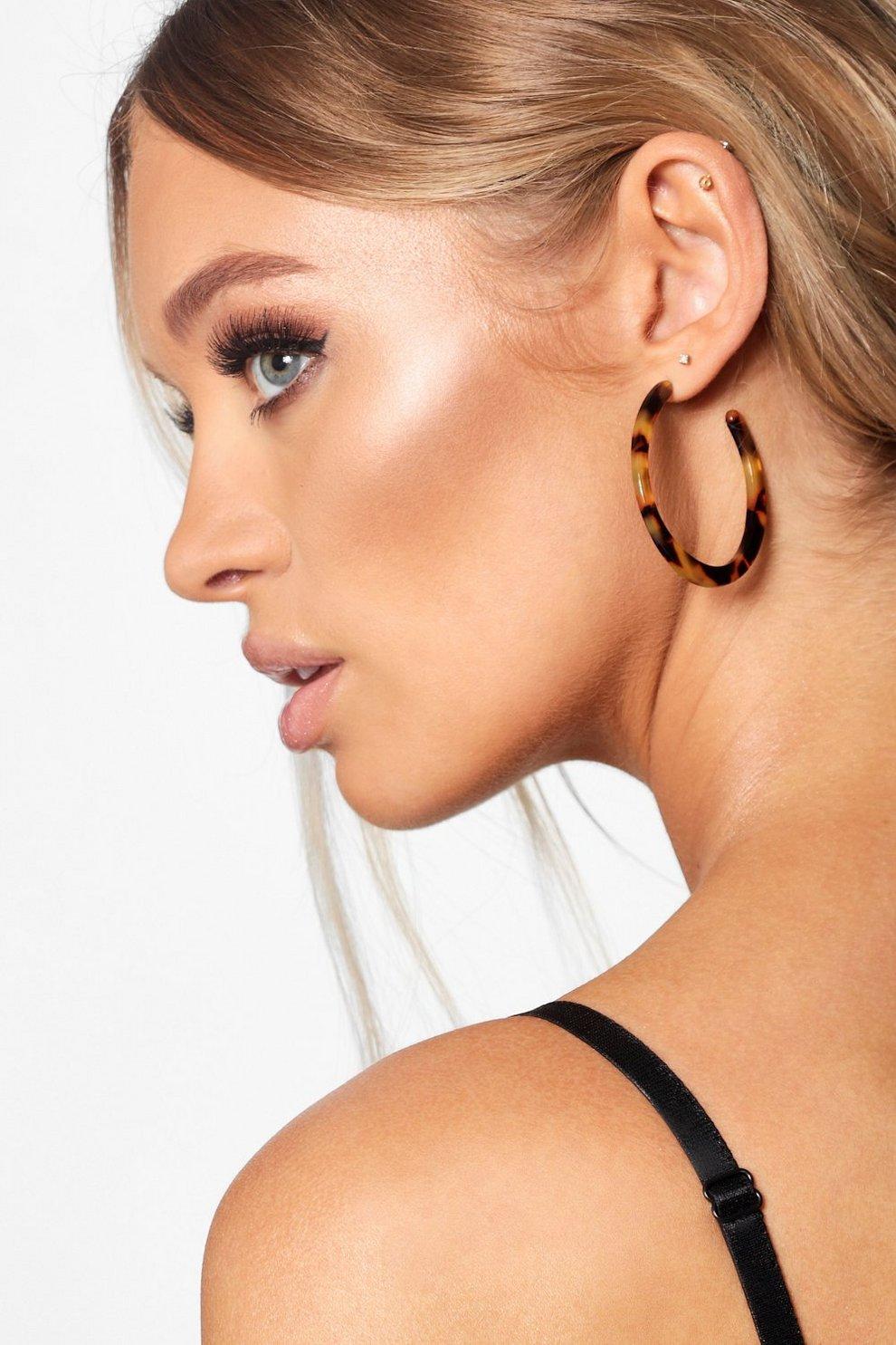 50mm Tortoiseshell Hoop Earrings Boohoo