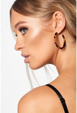 Womens Brown 50mm Tortoiseshell Hoop Earrings