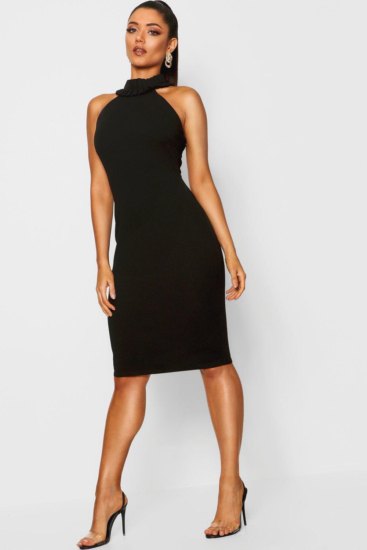 b3be00fc16e395 Ruffle Neck Sleeveless Dress