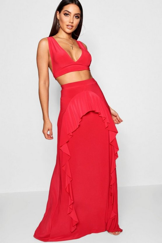 Womens Ruffle Detail Maxi and Top Co-Ord