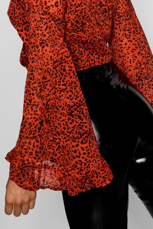 menta estampado de leopardo delante por nudo y Top con 8nCUqOSS