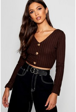 Womens Chocolate Rib Knit Long Sleeve Horn Button Crop Top