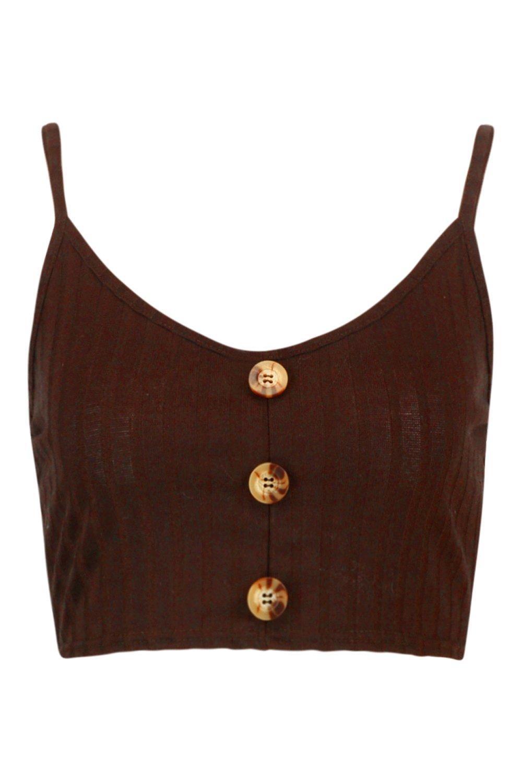 de de punto corto cuello V botones tirantes con Top en canalé y chocolate cuerno 8SxWw6
