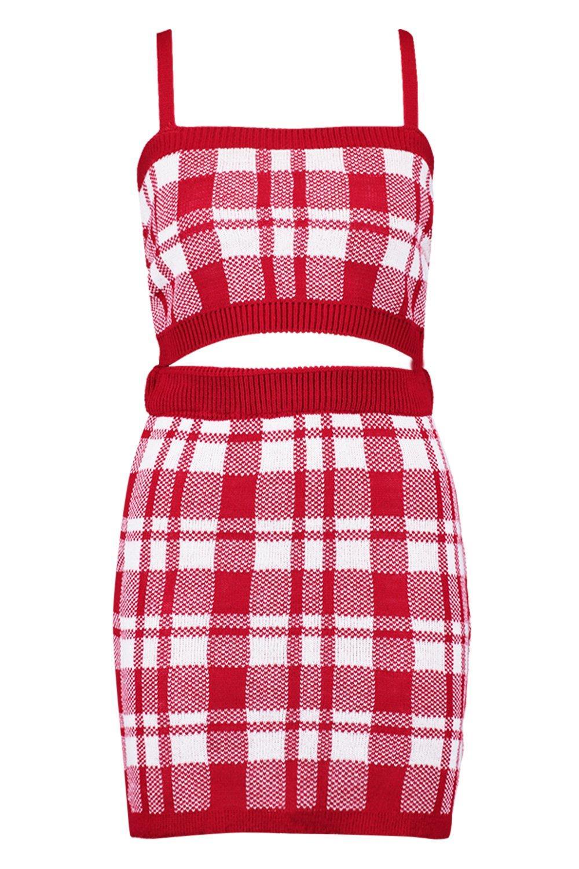 de a minifalda con cuadros punto Conjunto rojo 6xdqfT67w
