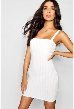 Womens Cream Square Neck Wide Strap Rib Knit Dress