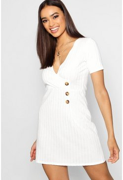 Womens Cream Wrap Over Horn Button Rib Knit Swing Dress