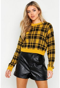Womens Mustard Check Crop Sweater