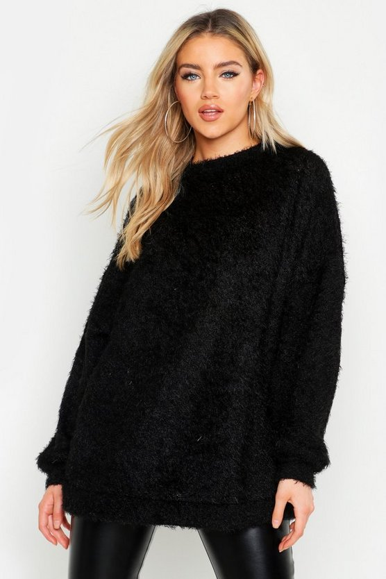 Womens Black Oversized Fluffy Knit Boyfriend Jumper