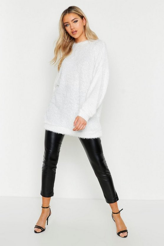 Womens Cream Oversized Fluffy Knit Boyfriend Jumper