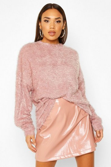 Womens Dusky pink Oversized Fluffy Knit Boyfriend Jumper