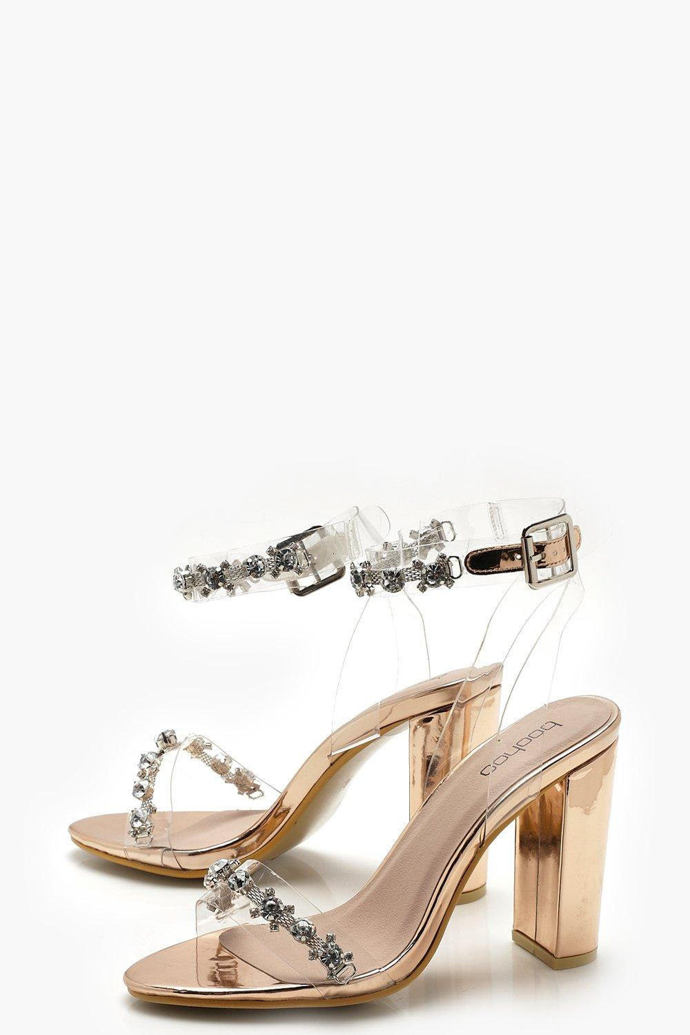 Clear and Embellished Strap Block Heels
